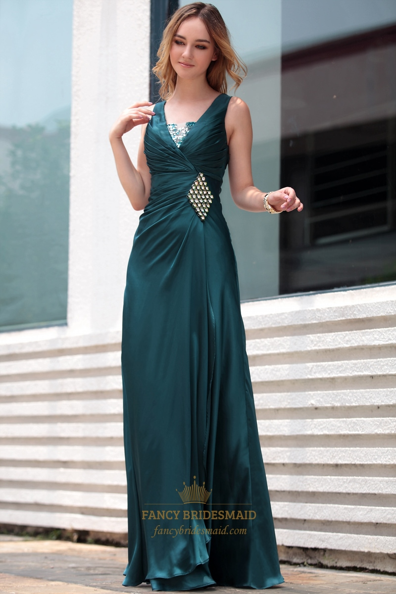 Dark green evening dress mother of the bride dresses for for Green beach wedding dresses