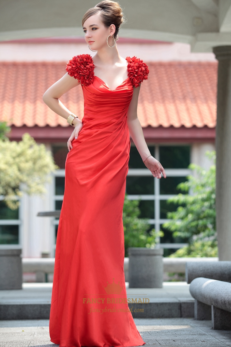 Red Satin Chiffon Long Prom Dresses 3D Flower Shoulder Wedding Dresses