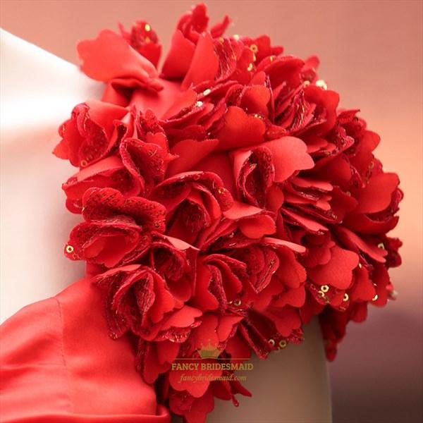 Red Satin Chiffon Long Prom Dresses 3D Flower Shoulder Wedding Dresses