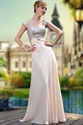 Prom Dresses With Sequins At The Top,Formal Dresses With Sleeves,Peach Dresses