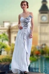 Ivory Floor Length Sweetheart Chiffon Spaghetti Strap Evening Dresses