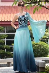 Blue Chiffon One Shoulder Long Sleeve Embroidery Evening Dresses