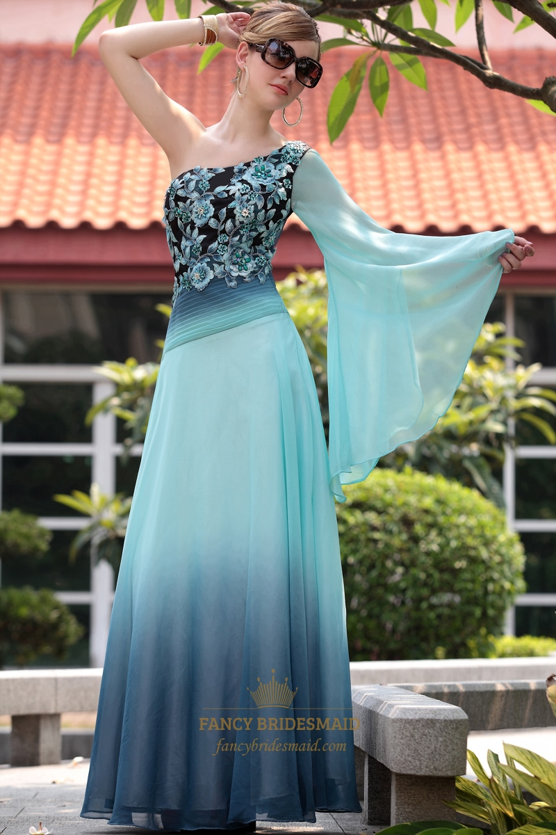 Blue Chiffon One Shoulder Long Sleeve Embroidery Evening