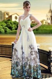 One Shoulder Bridesmaid Dresses Long, One Shoulder Long Chiffon Dress
