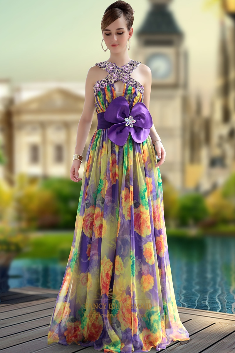 Floor Length Printed Mixed Floral Pleated Evening Dresses
