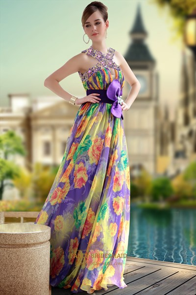 Floor Length Printed Mixed Floral Pleated Evening Dresses With Flower