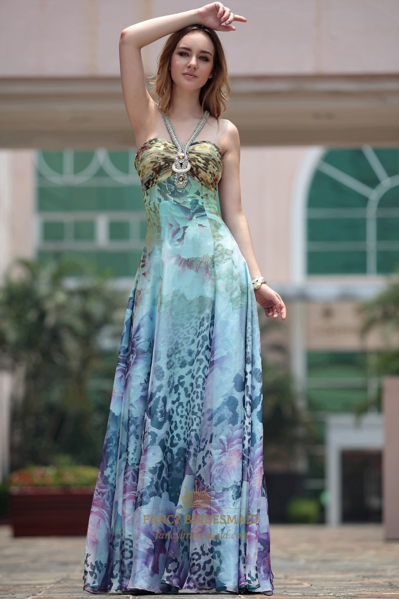 Halter Formal Gowns Printed Chiffon Pleated Floor Length Evening ...