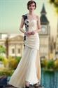 Yellow Chiffon One Shoulder Ruffle Mermaid Prom Dresses Black Applique