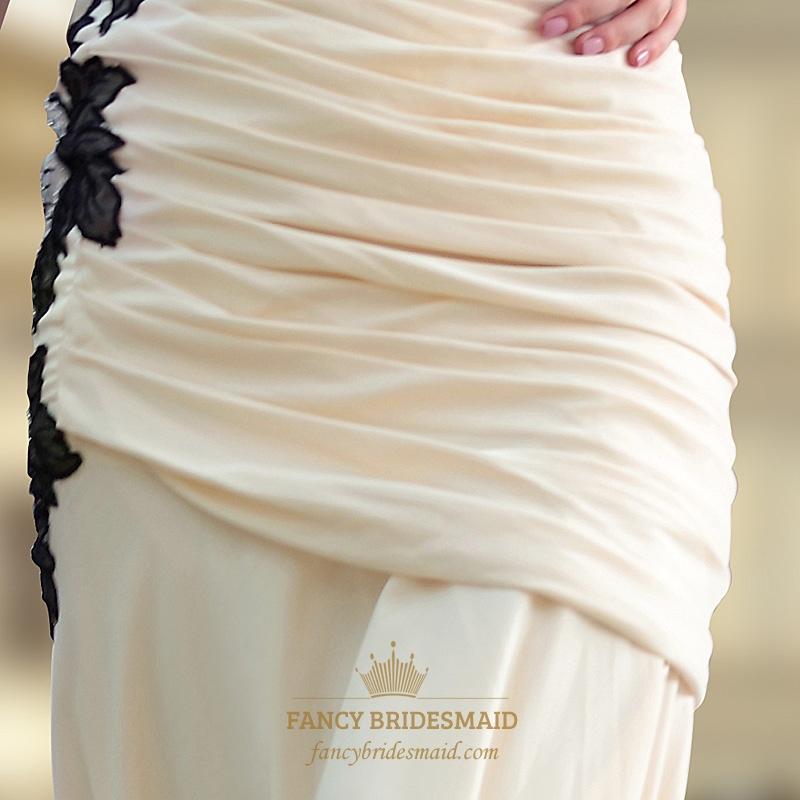 4e6058014589 Yellow Chiffon One Shoulder Ruffle Mermaid Prom Dresses Black Applique