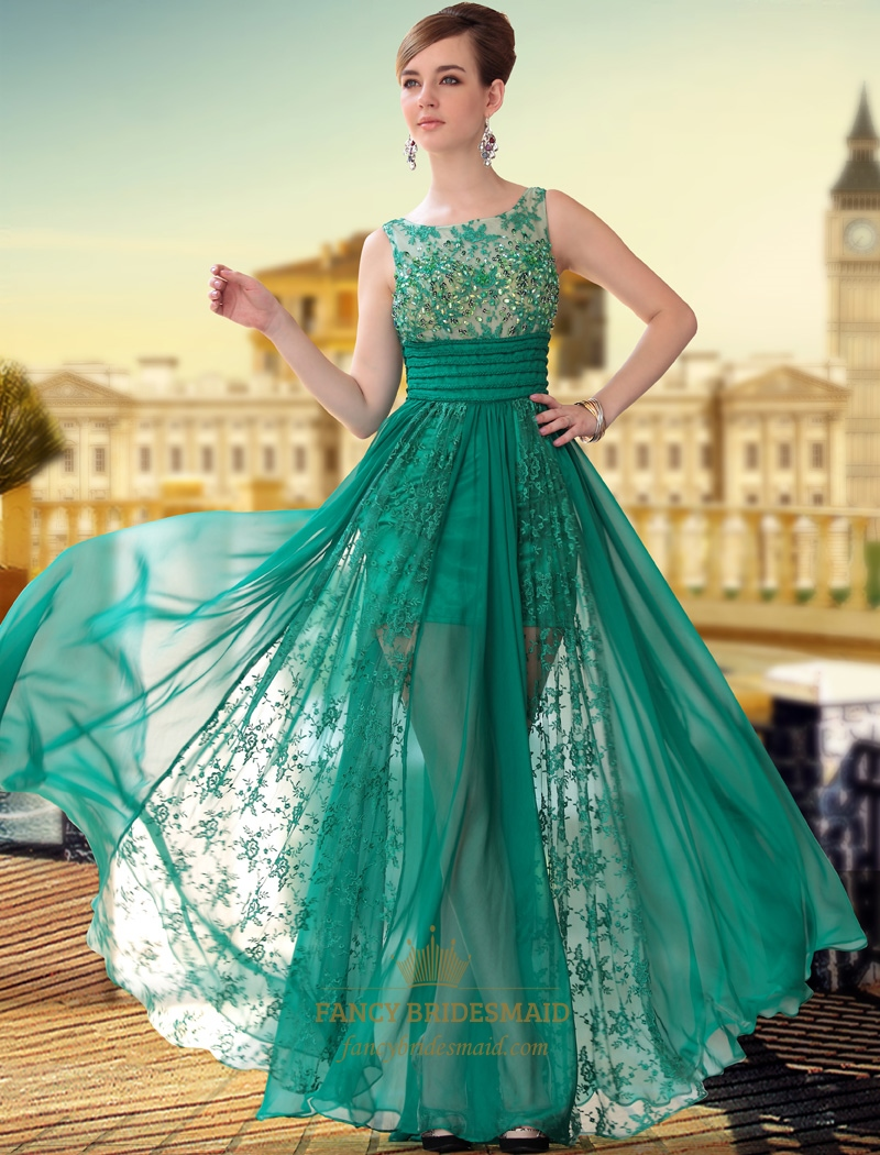 Green Scoop Beaded Chiffon Lace Off Shoulder Floor Length Prom ...