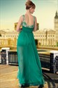 Green Scoop Beaded Chiffon Lace Off Shoulder Floor Length Prom Dresses