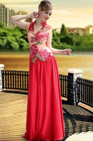 High Collar Red V Neck Prom Dress Tulle Wedding Dresses With Applique