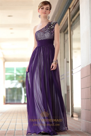 Purple Chiffon Prom Dresses Beading One Shoulder Long
