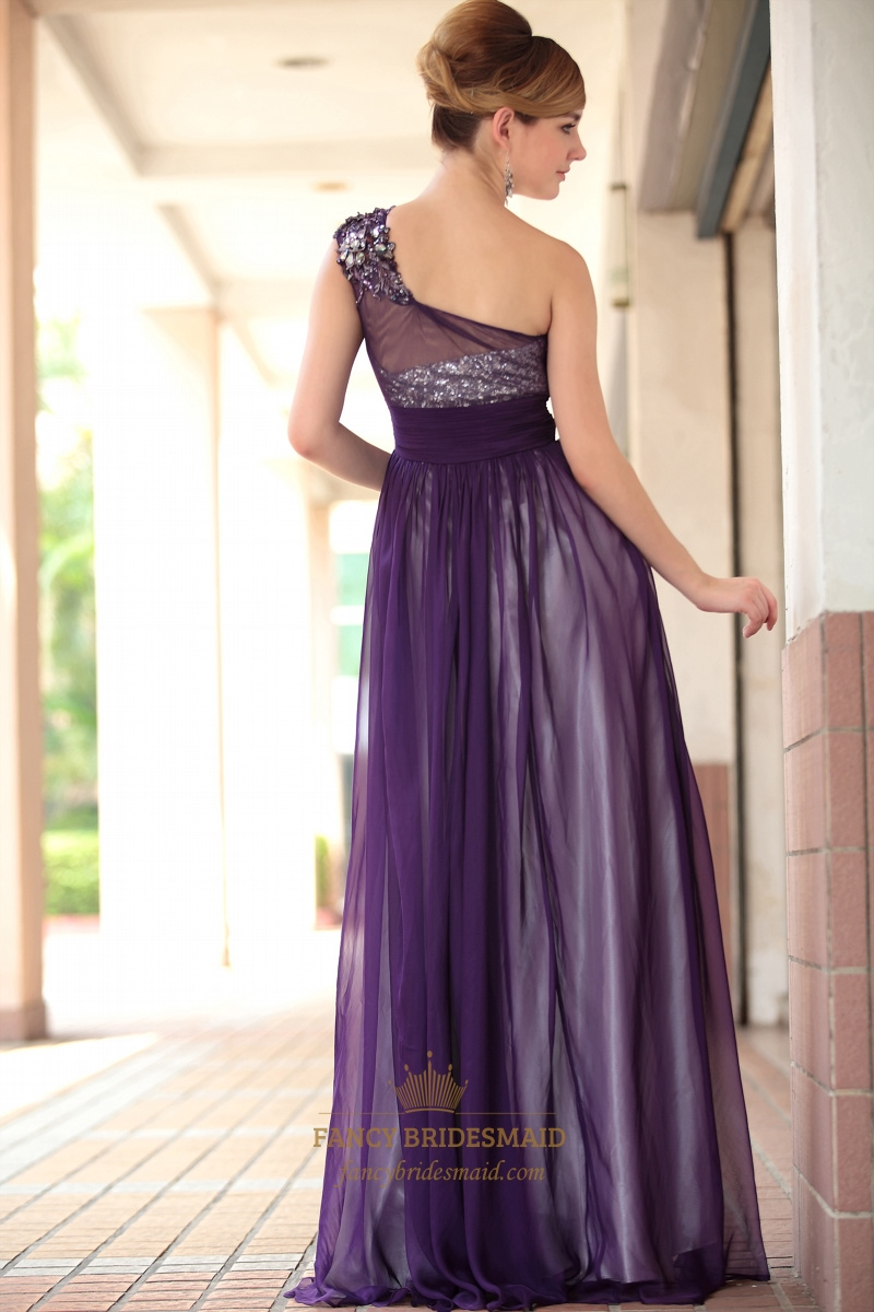Purple Chiffon Prom Dresses Beading One Shoulder Long Evening ...
