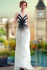 White And Black V-Neck Evening Dress Halter Beaded Ruffle Formal Dress