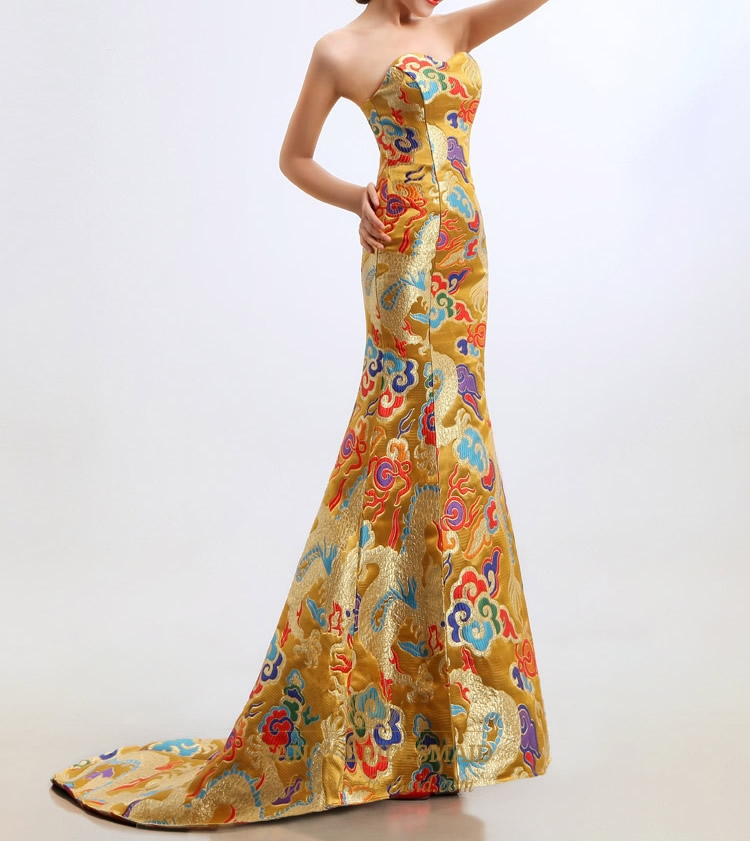 Golden Embroidery Evening Dresses Long Sweetheart Mermaid Prom ...