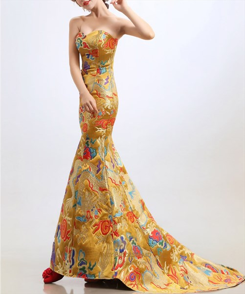 Golden Embroidery Evening Dresses Long Sweetheart Mermaid Prom Dresses