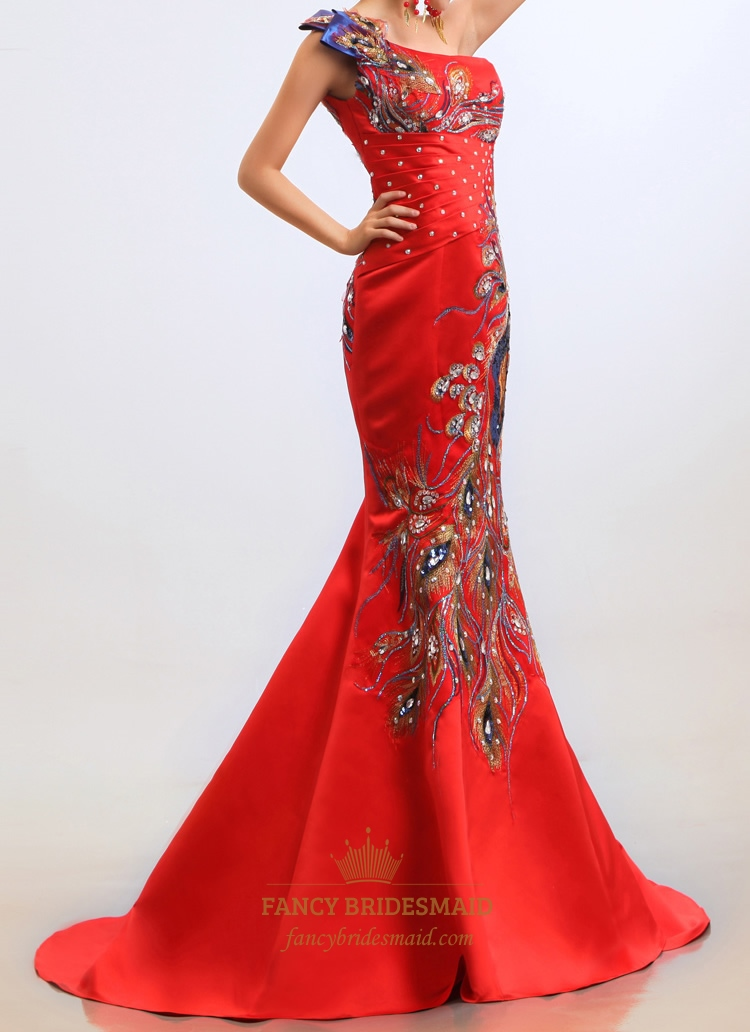 red mermaid wedding dress embroidery one shoulder long