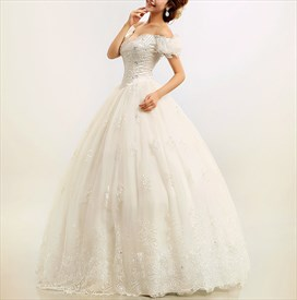 Off The Shoulder Lace Wedding Dress, Wedding Dresses With Cap Sleeves