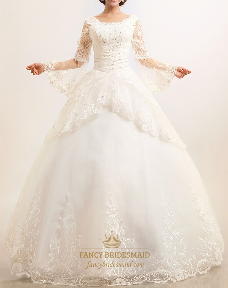 Modest Wedding Dresses With Long Sleeves Lace Wedding Dresses Vintage
