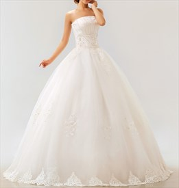 Lace Strapless Wedding Dress, White Wedding Dresses For Sale