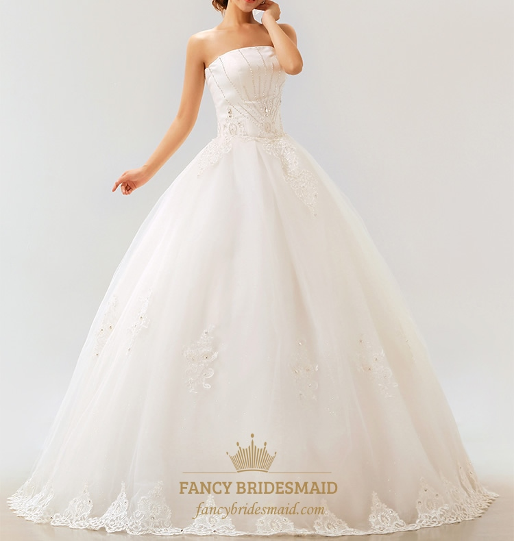 Lace Strapless Wedding Dress, White Wedding Dresses For Sale | Fancy ...