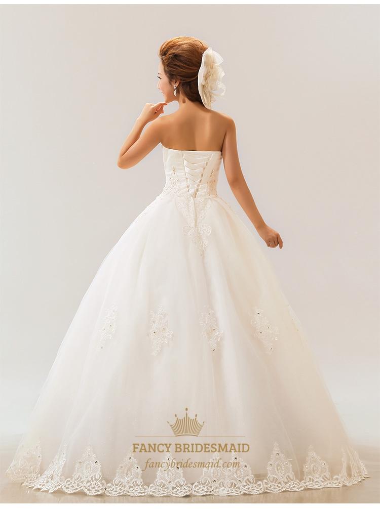 Lace strapless wedding dress white wedding dresses for for Lace wedding dress for sale