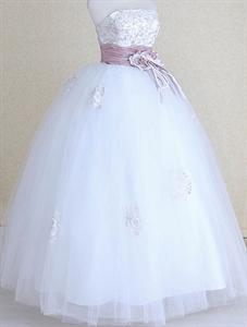 Purple And White Wedding Dresses, Lace Wedding Dress With Sash