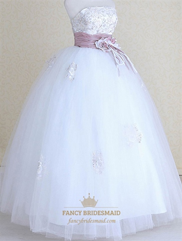Purple And White Wedding Dresses Lace Dress With Sash