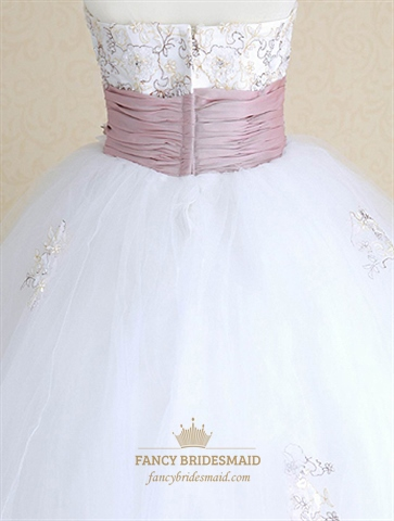 Purple And White Wedding Dresses, Lace Wedding Dress With Sash