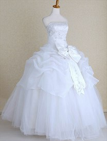 White Organza Strapless Beaded Floor Length Wedding Dress With Big Bow