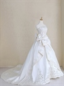 Beautiful Champagne Bridal Gowns Satin Hollow Applique Wedding Dresses