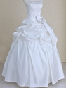 White Satin Strapless Beaded Bridal Wedding Dress With Bow And Pick Up