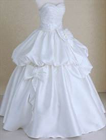 White Satin Ruched Strapless Sweetheart Bridal Wedding Dress With Bows