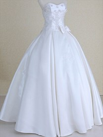 Strapless Wedding Dresses Corset Back, Simple Wedding Dresses With Bow
