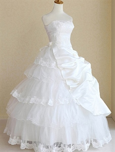 Ball Gown Strapless Asymmetrical Tulle Wedding Dress, White Ball Gowns