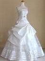 White Satin Wedding Dresses, Strapless Wedding Dresses With Pickups