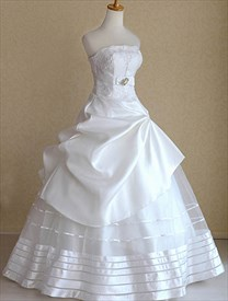 White Satin Wedding Dresses, Strapless Wedding Dresses With Pickups