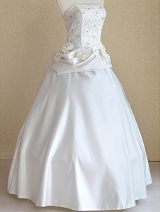 Ivory Wedding Dress With Flowers, Simple Strapless Ivory Wedding Dress