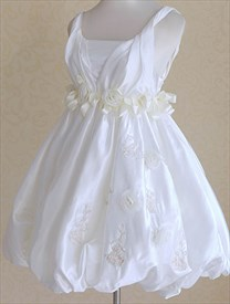 Short Wedding Dresses With Flowers, Short Simple White Wedding Dresses