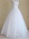 White Wedding Dress Strapless, Strapless Tulle Ball Gown Wedding Dress