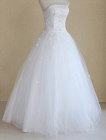 White Wedding Dress Strapless, Strapless Tulle Ball Gown Wedding Dress