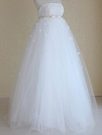 White Empire Waist Wedding Dress, Strapless Wedding Dress With Flowers