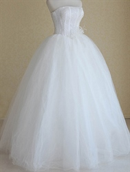 Basque Waist Wedding Dress, Strapless Wedding Dresses With Corset Back