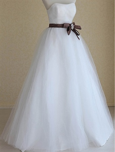 Wedding Dresses With Brown Sash, Strapless Wedding Gowns With Ruching
