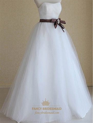 Wedding Dresses With Brown Sash, Strapless Wedding Gowns With ...
