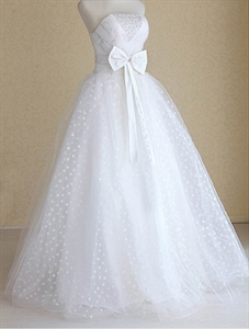 White Wedding Dress With Bow, Strapless Wedding Dress With Corset Back