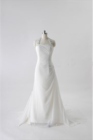 Ivory Halter Neck Wedding Dresses, Ivory Chiffon Wedding Dresses