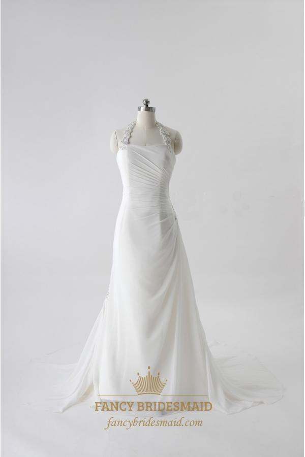 Ivory Halter Neck Wedding Dresses, Ivory Chiffon Wedding ...