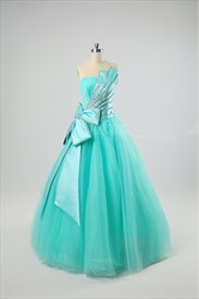 Jade Green Prom Dress Basque Waist Ball Gown Dress With Butterfly Bow